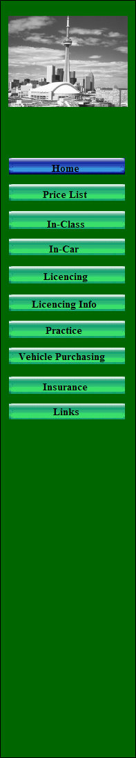 Menu: Price List, In-Class, In-car, Licencing, Licencing Info, Practice, Vehicle Purchasing, Insurance, driving school